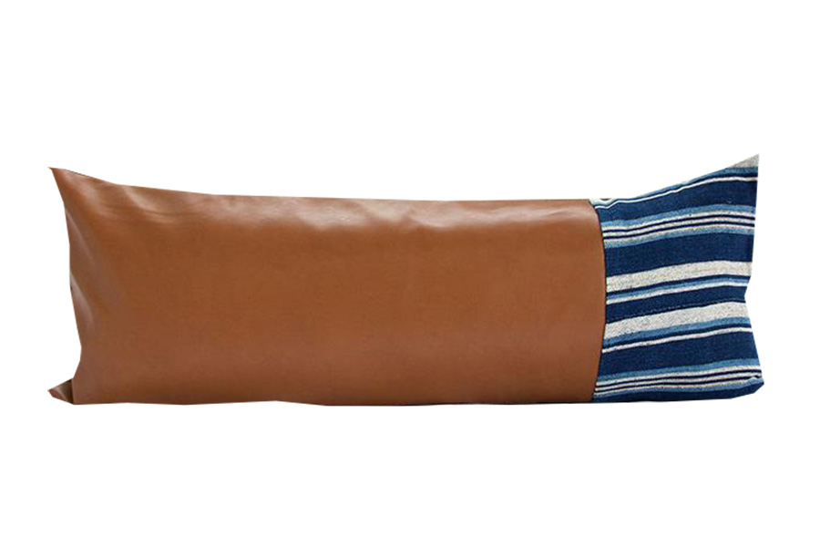 Mixed Striped Mud Cloth and Faux Leather Extra Long Lumbar Pillow - 14X36