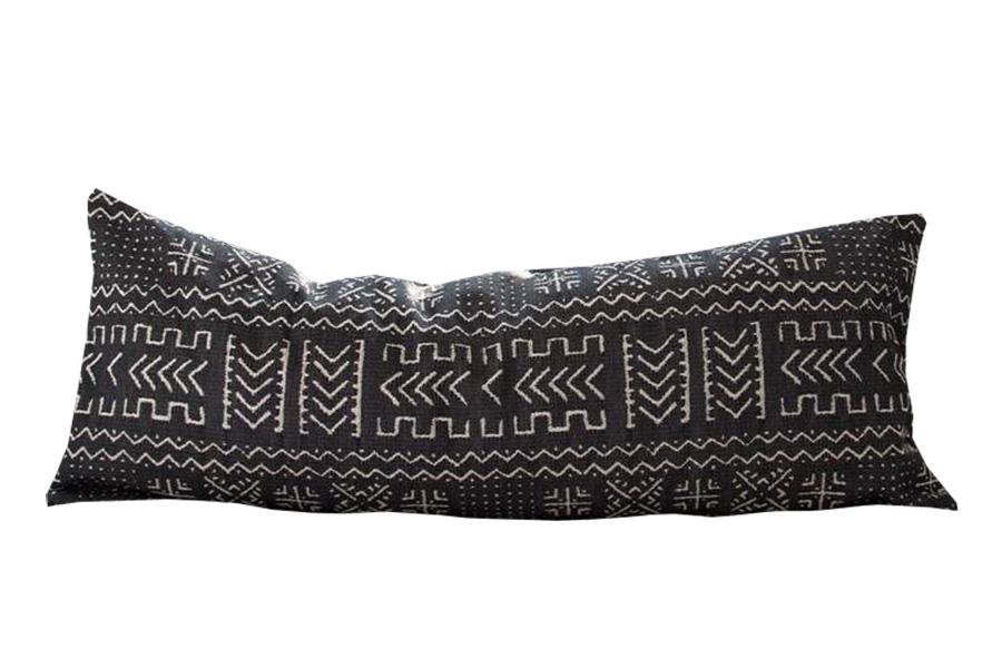 Tribal Black & Cream Extra Long Lumbar Pillow 14X36