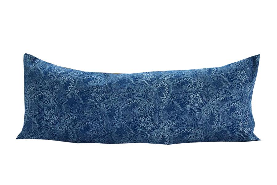 Indigo Bagru Print Extra Long Lumbar Pillow -14X36