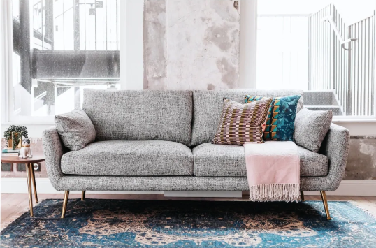 Mid Cetury Hayley Grey Upholstered Sofa - $1343