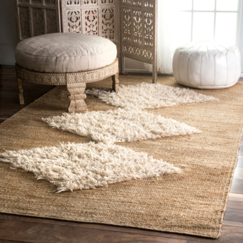 The Curated Nomad Sinclair Bleached Handmade Jute/ Wool Diamond Area Rug - Overstock  - $81.99+