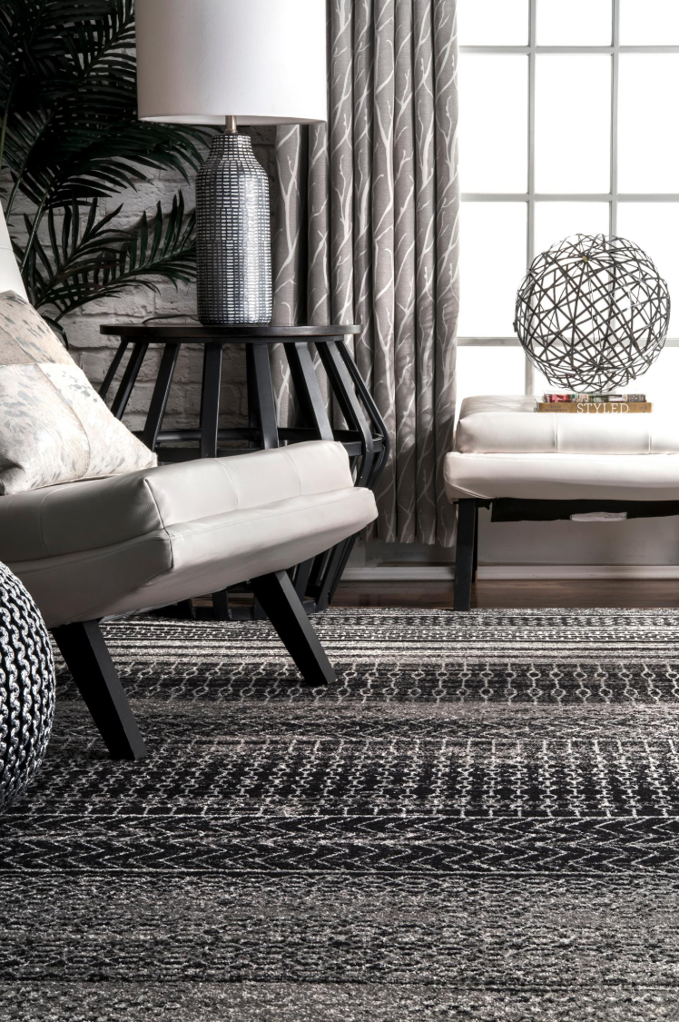 Dark Gray Banded Abacus And Stripes Bosphorus Area Rug  - $60.99+