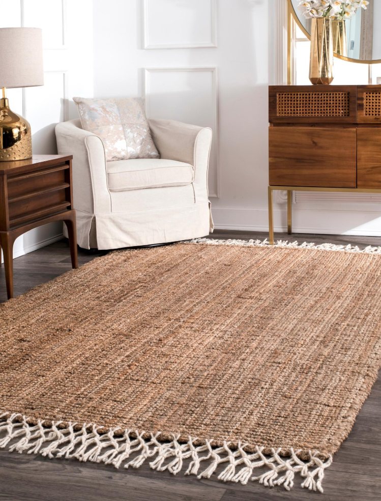 Natural Hand Woven Jute with Wool Fringe Maui Area Rug  - $75.99+