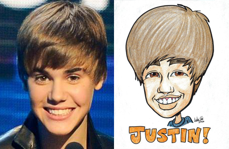 X Justin Bieber with caricature.png