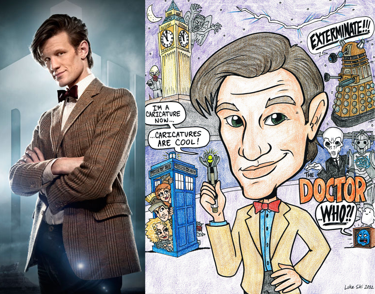 X Matt Smith Doctor Who with caricature.png