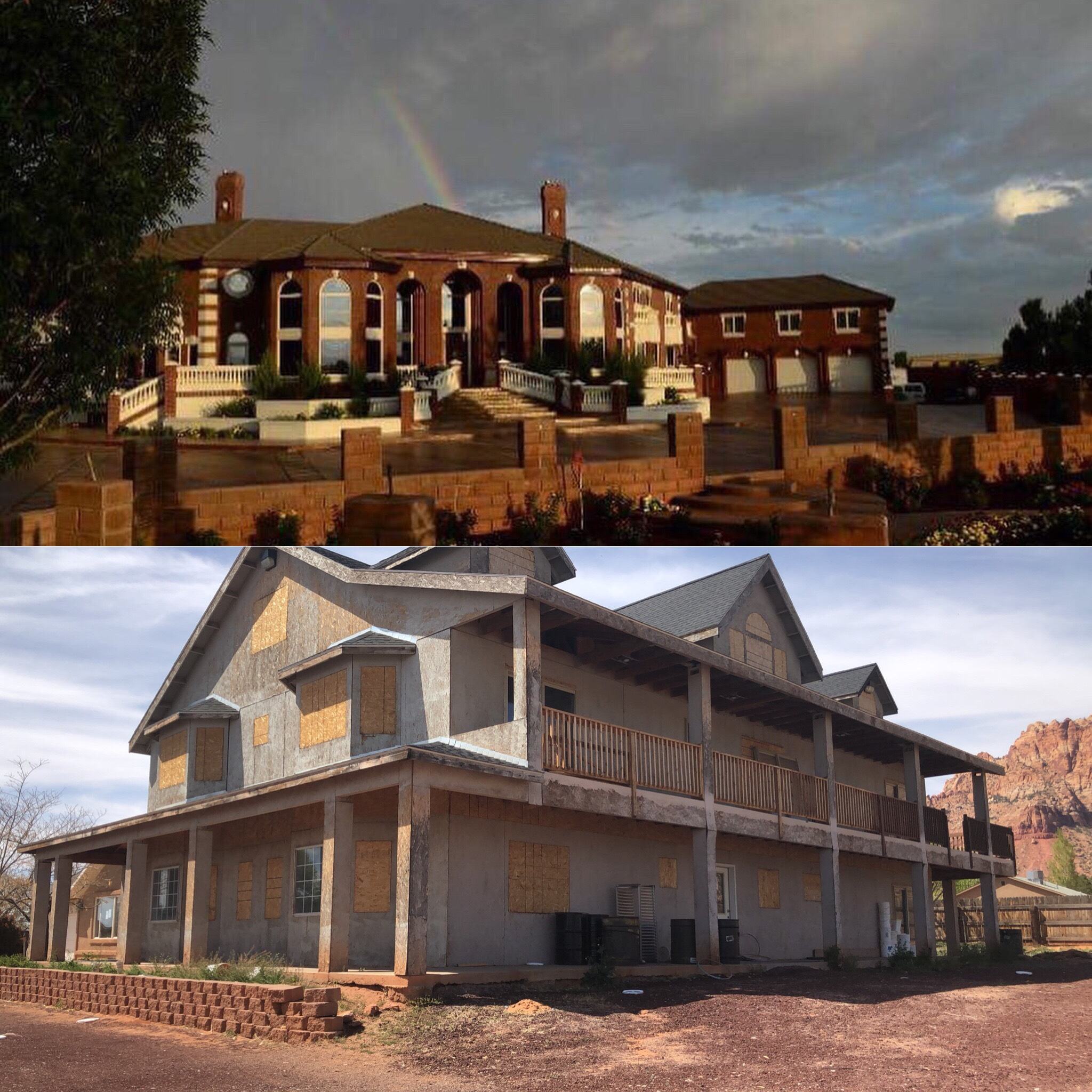 The top picture is one of the mansions in Centennial Park and the bottom picture is one of the many abandoned/half finished houses in the FLDS community. Just miles apart.