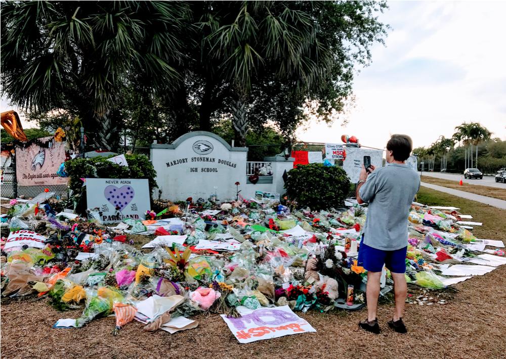 Memorial at Marjorie Stoneman Douglas School, Parkland, FL.
