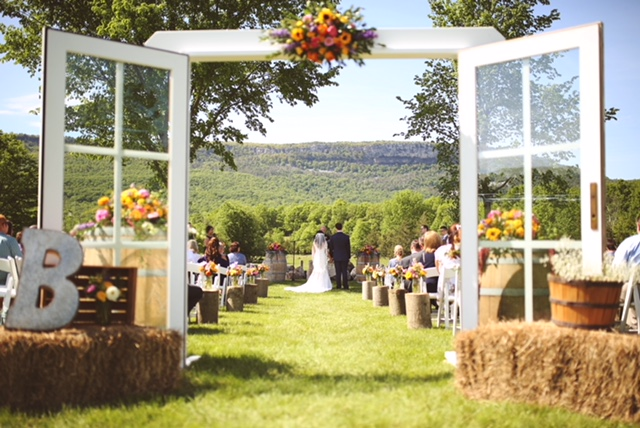 Farm wedding ceremony at Kiernan Farm.