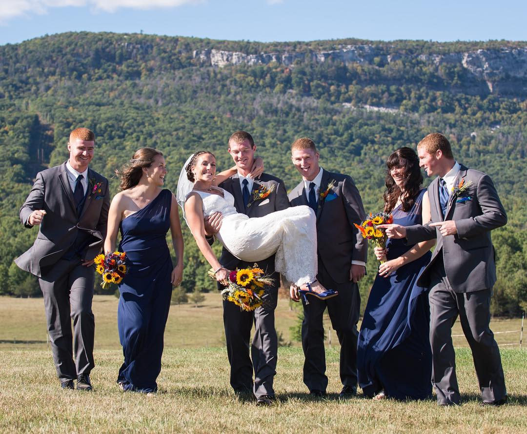 Farm wedding with a view of the majestic Shawangunk Mountains on Kiernan Farm.