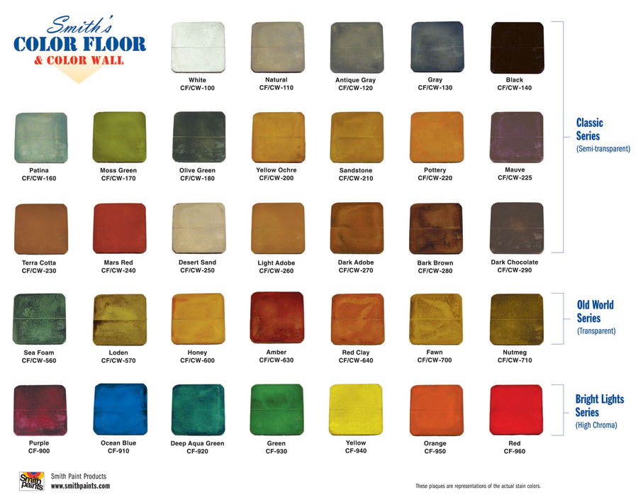 A Water based stain color chart. Notice the full spectrum of colors and high level of translucency.