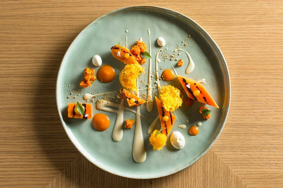 """Carrots"": carrots prepared five different ways, served with hummus, dukka and fresh cream cheese."