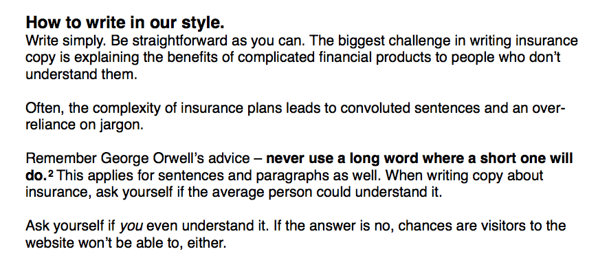 Excerpts from the Great Eastern Life product copywriting guide.