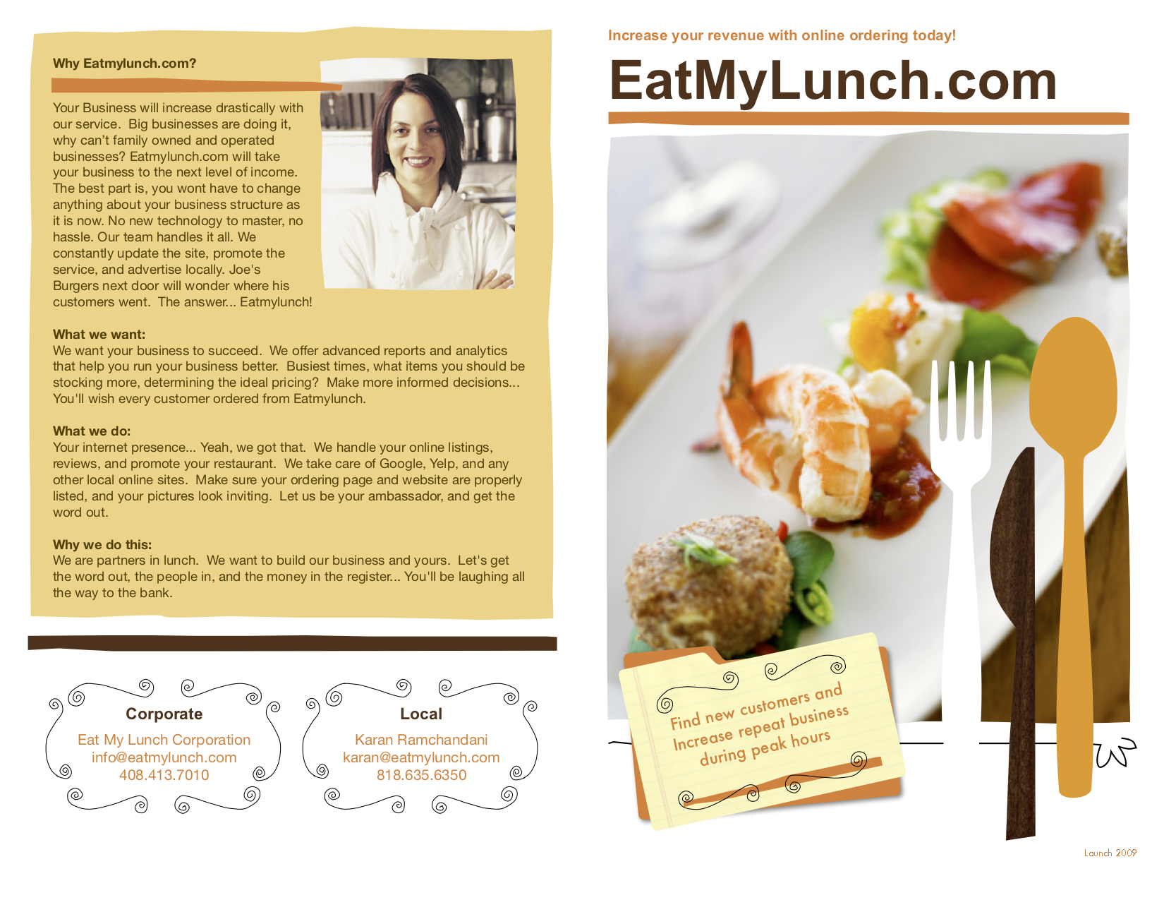 The EatMyLunch sales pitch to restaurants (2009)