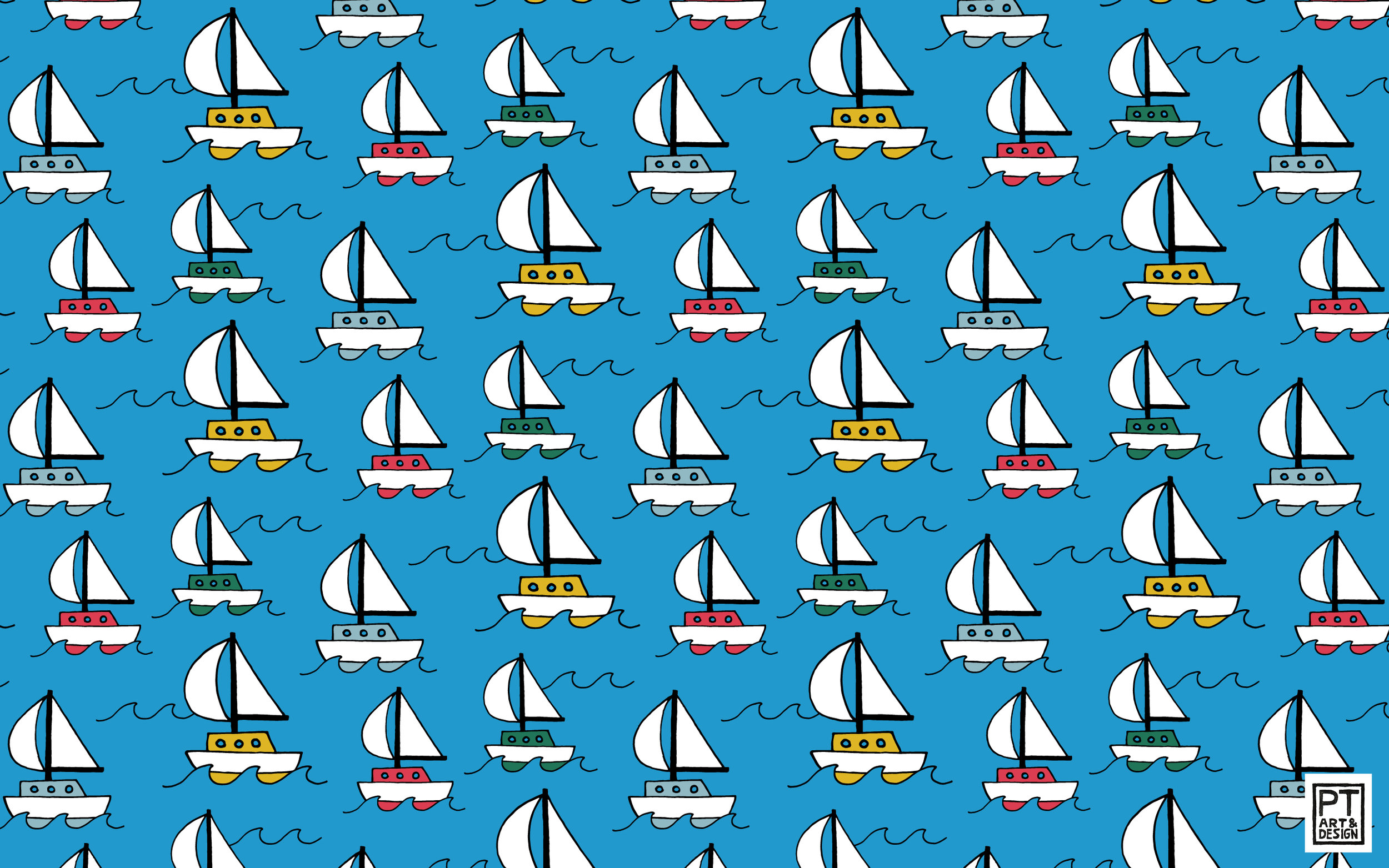 Colorful sailboats on a blue background