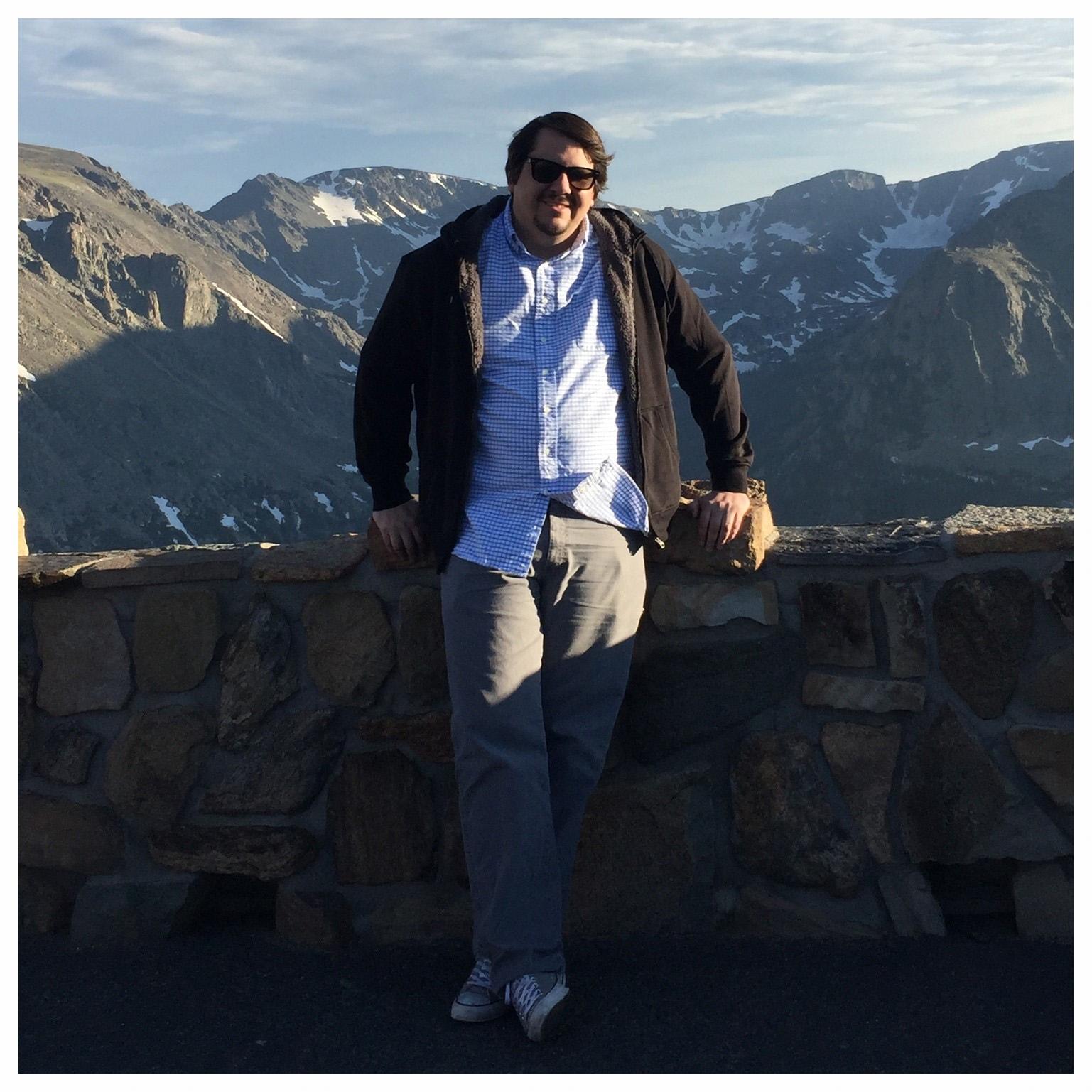 Enjoying a scenic vista at the Rocky Mountain National Park in Estes Park, Colorado.
