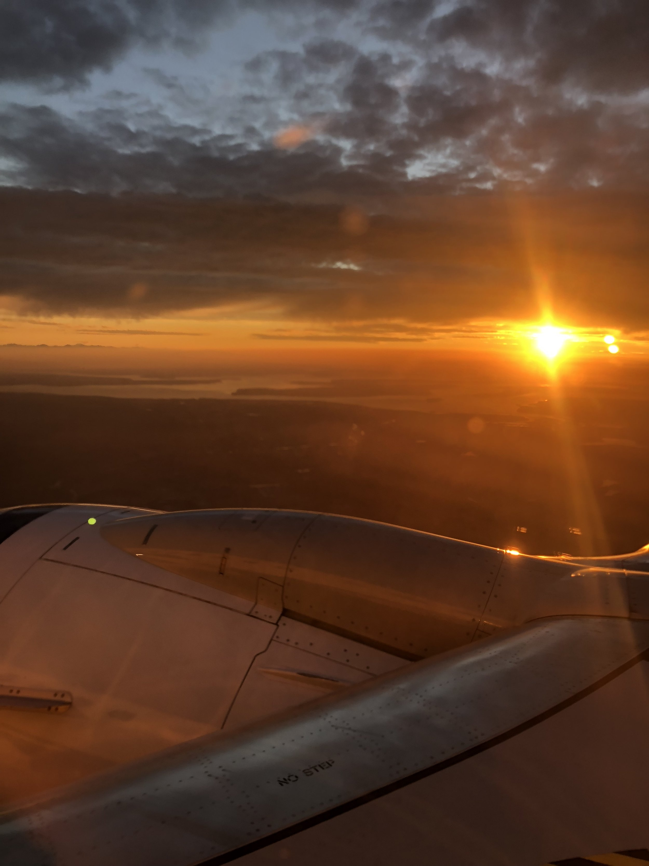 This was the sunset that greeted us as we flew back into Seattle.