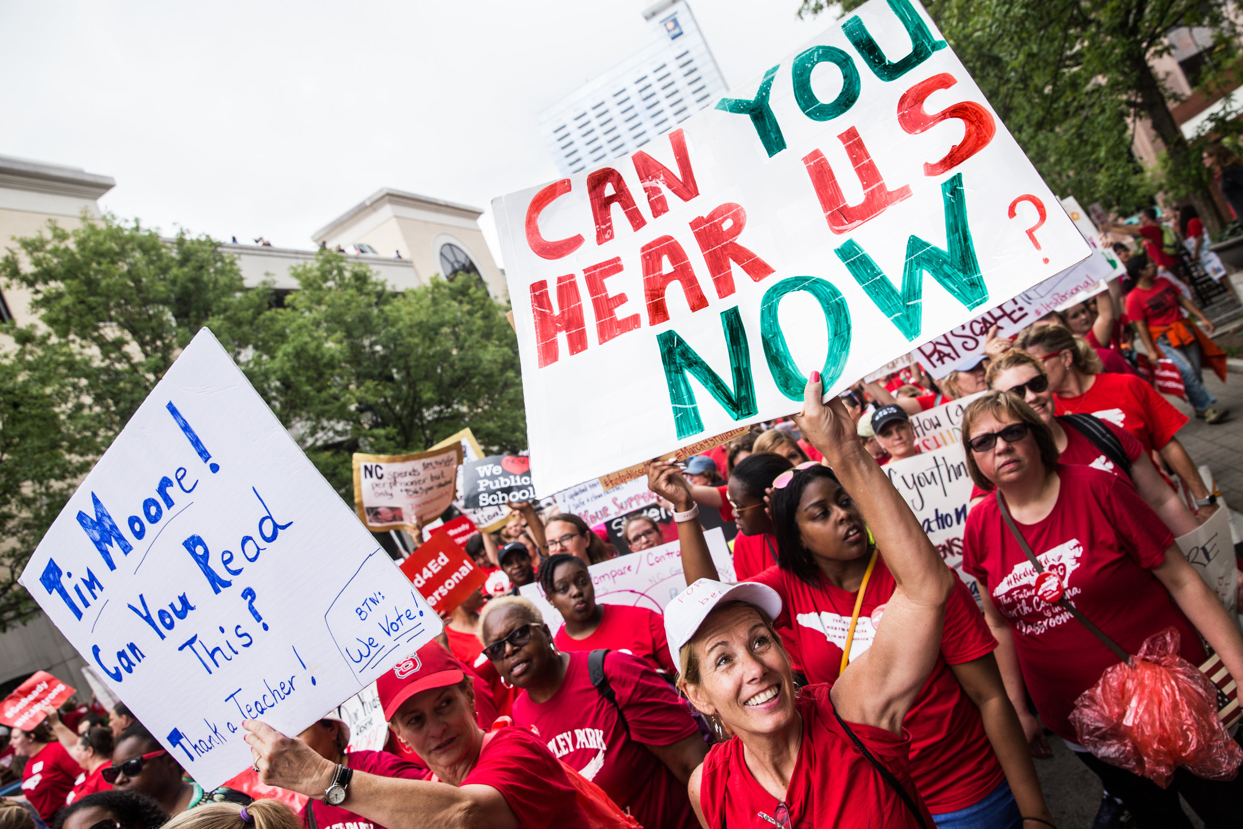 Approximately 20,000 educators march in downtown Raleigh on May 16, 2018 in the March for Students and Teacher's Rally for Respect. The march was organized by the North Carolina Association of Educators (NCAE) in urge of increased per-pupil support and better teacher pay. [Dan Busey/The Dispatch]