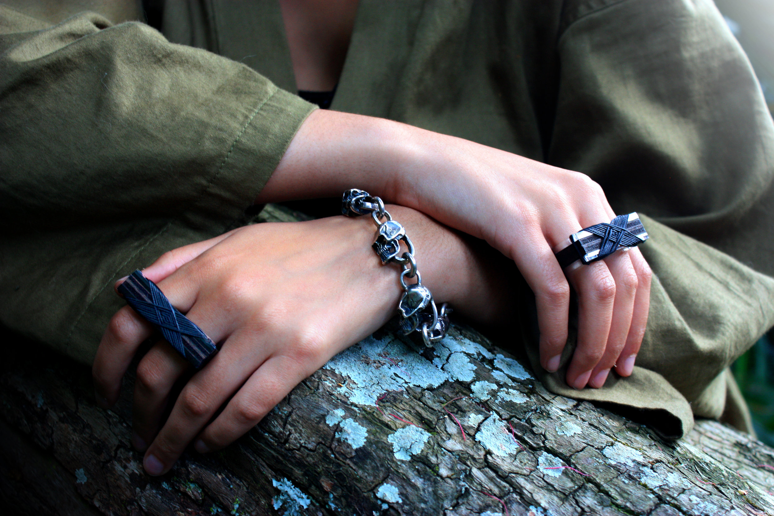 Black Binding on Black Knuckle Ring and Black Binding on Wood and Arcylic Amai / Knuckle Ring (Bracelet not for sale)