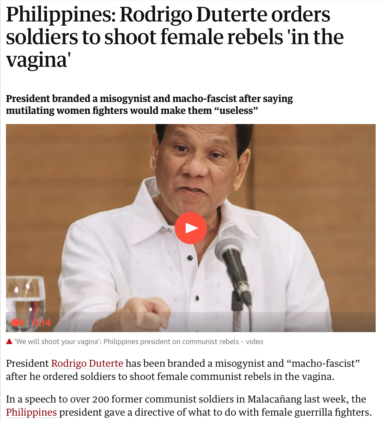 "Without them, ""... women will be useless."" Watch the video and read more at: https://www.theguardian.com/world/2018/feb/13/philippines-rodrigo-duterte-orders-soldiers-to-shoot-female-rebels-in-the-vagina"
