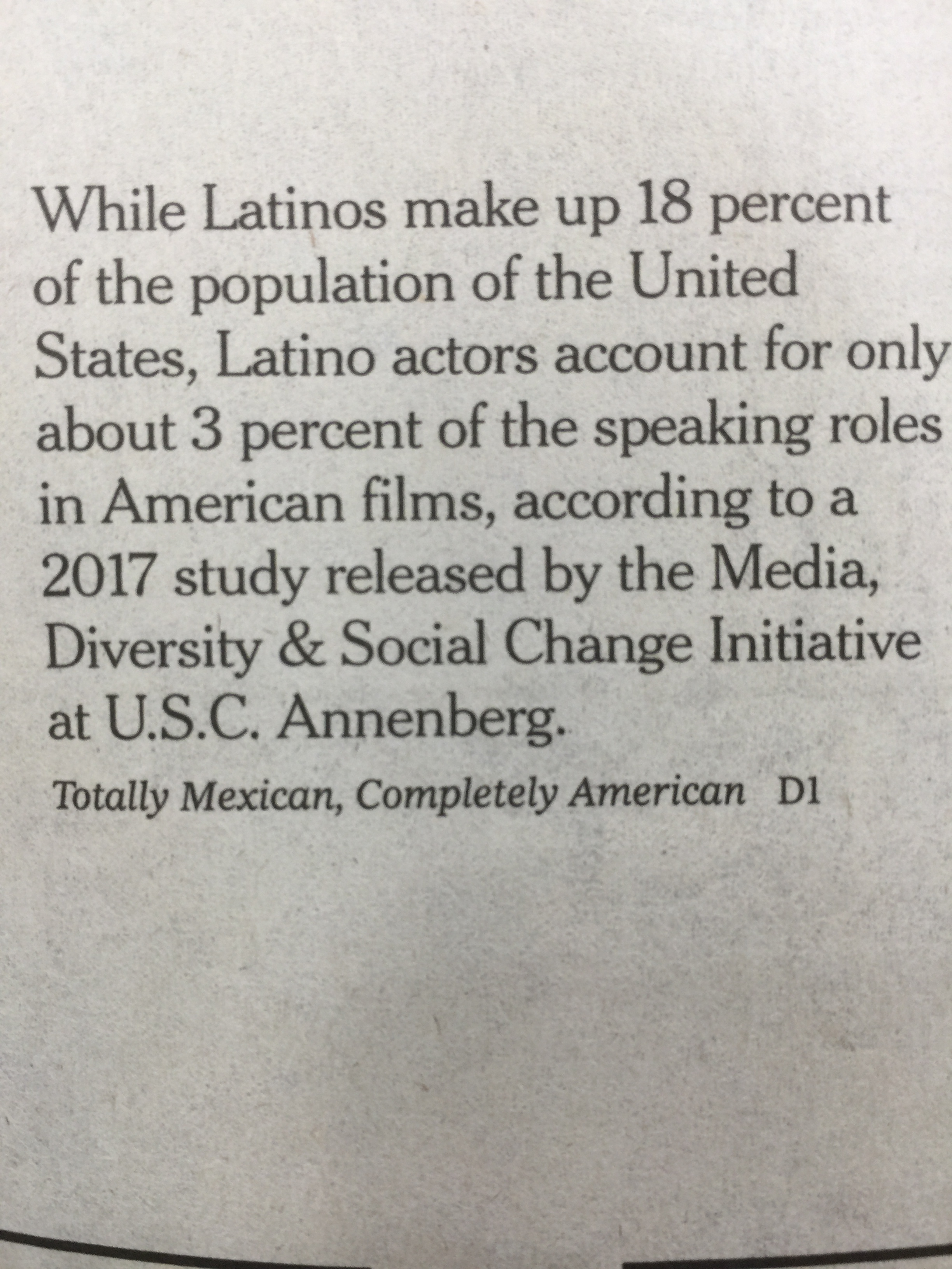 According to a 2017 study released by the Media, Diversity, and Social Change Initiative at U.S.C. Annenberg.