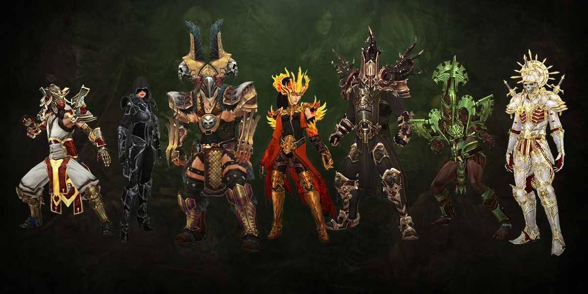 From left to right:Monk, Demon Hunter, Barbarian, Wizard, Crusader, Witch Doctor, Necromancer.