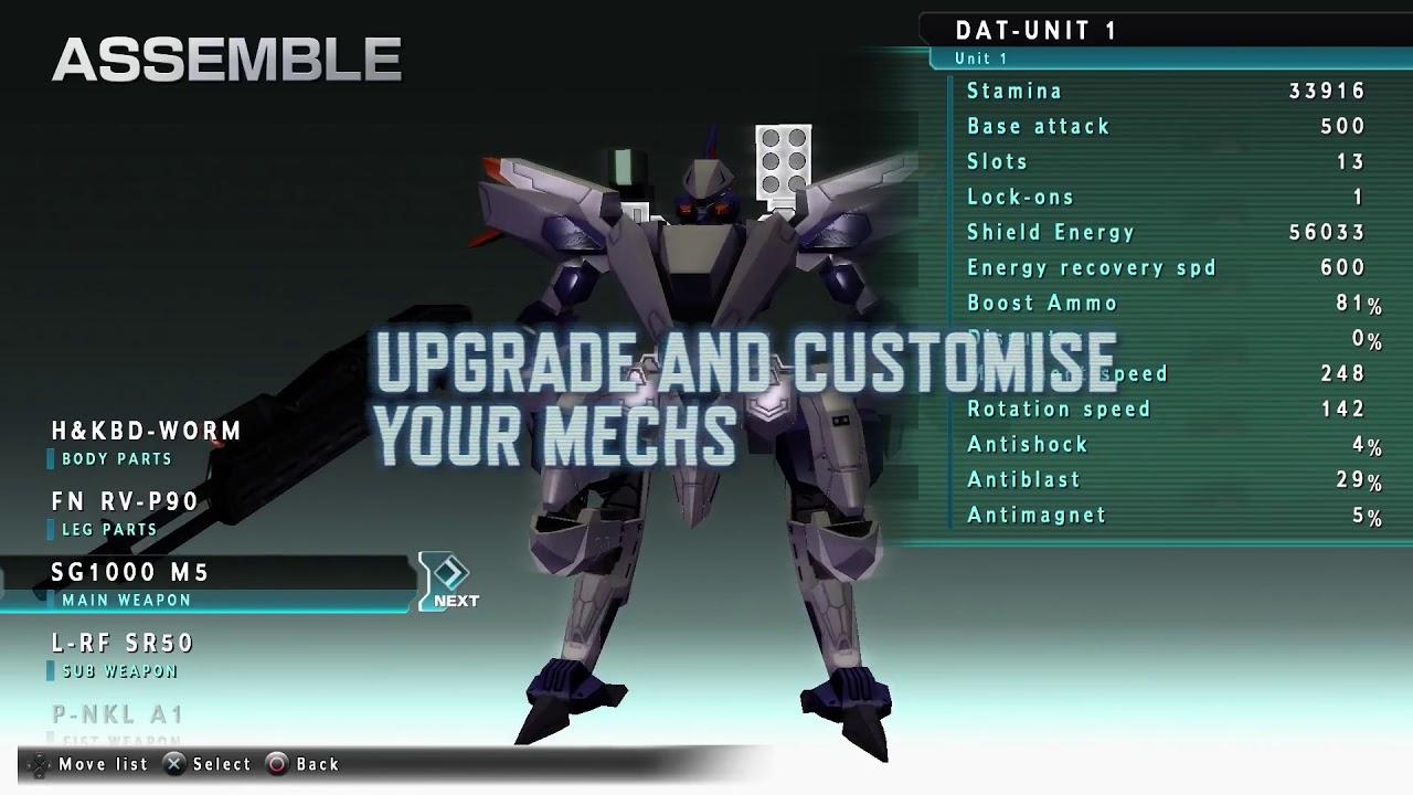 Assault Gunners Customization Screen