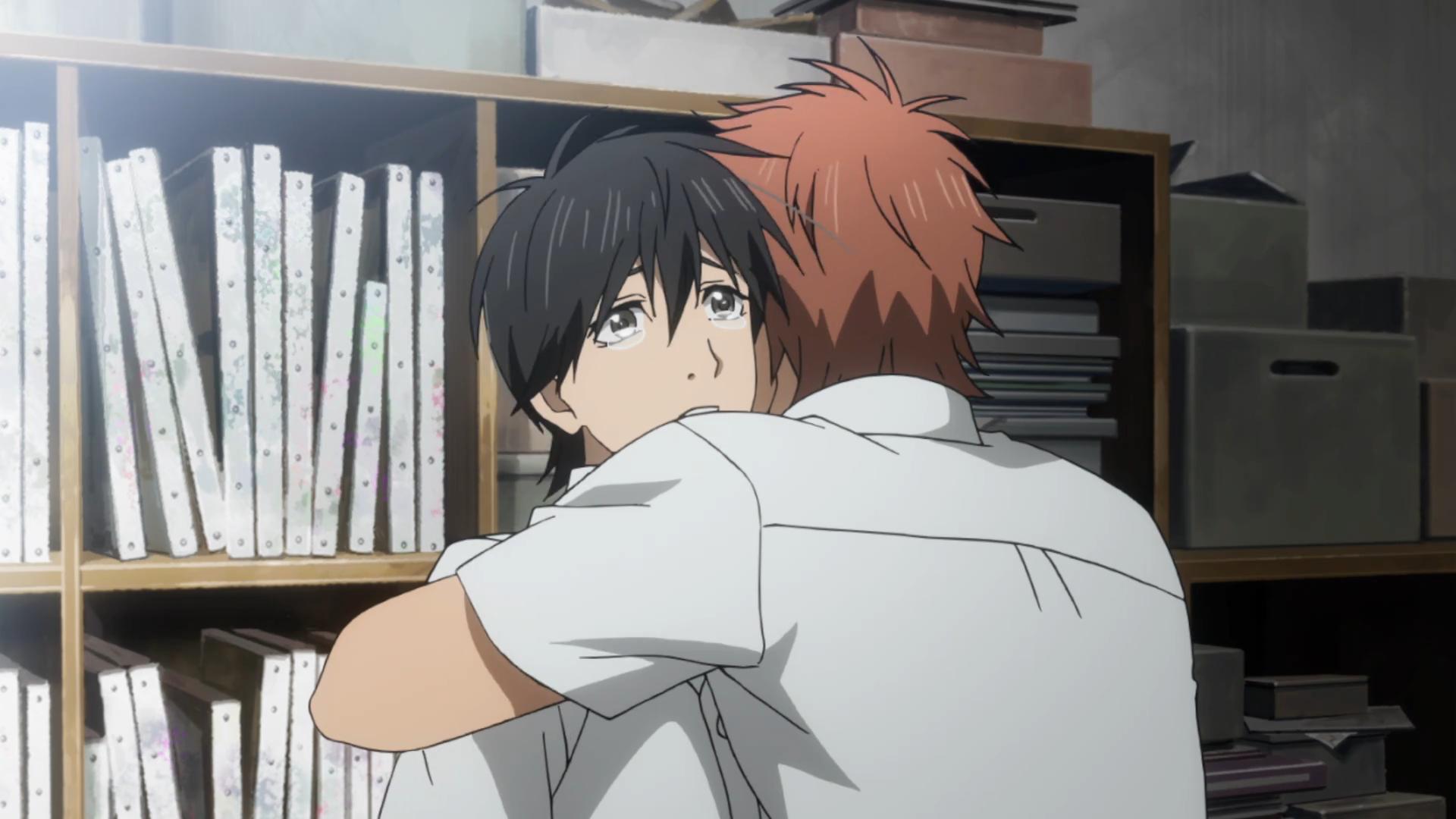 Anime Hugging Crying