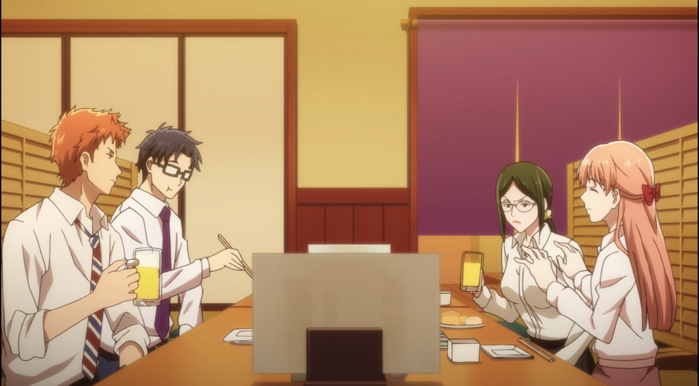 Wotakoi: Love is Hard for Otakou Episode 4 Drinking