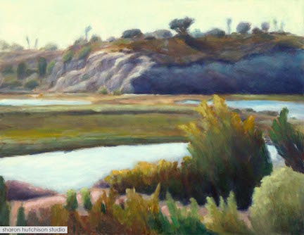 "Afternoon at the Bay - 14"" x 18"" oil on board"