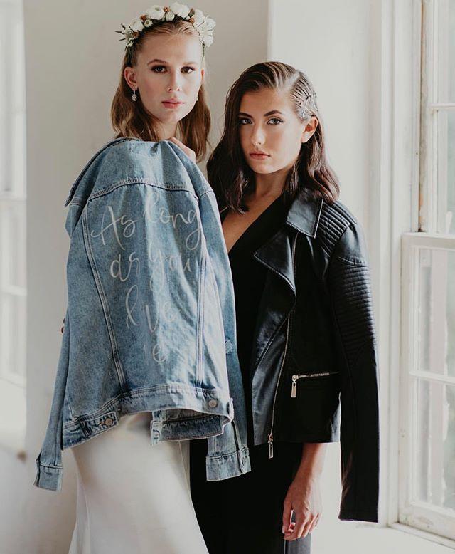leather or denim...i'm ya girl🖤💎 taking custom jacket orders for 2019-2020 brides and bridal parties! 👏🏼 #copperstonepainteddenim [📸: @amandaallgoodphoto]