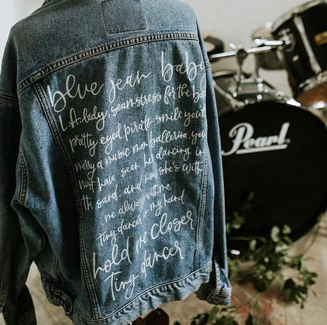a sweet friend of mine lost her father and had me paint these lyrics on his vintage levi's jacket. they danced to tiny dancer on her wedding day. I love special projects like this 💙 #copperstonepainteddenim [📸: @lovetothecorephoto]
