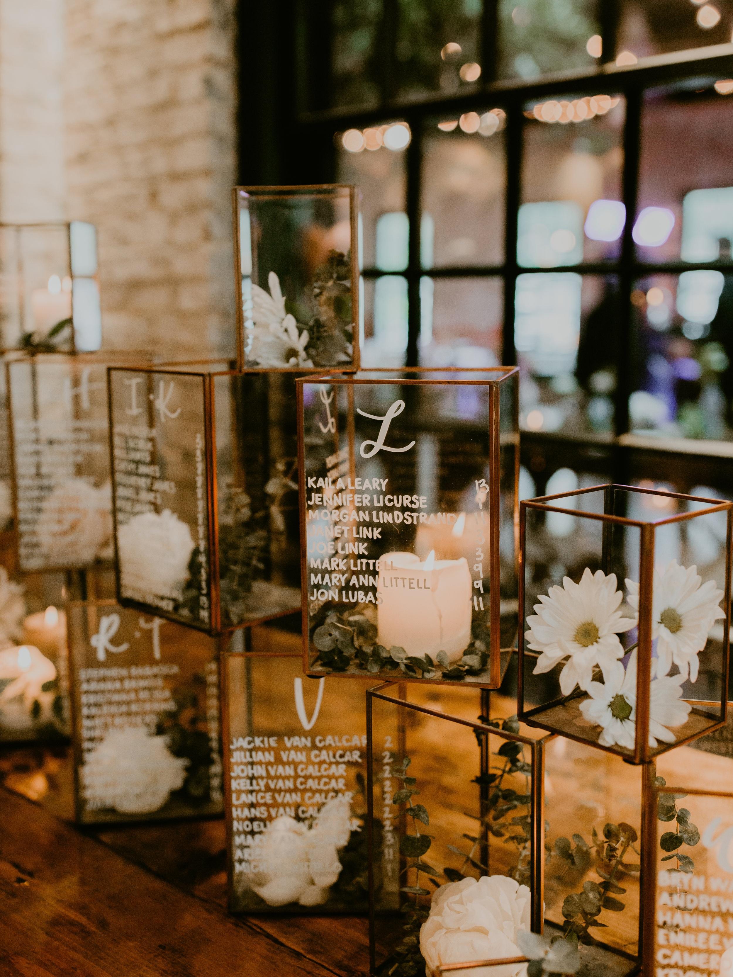 "Copper & Glass Terrarium Escort Display - 9"" x 6"" and 6"" x 4"" glass terrariumsrental & calligraphy services begin at $350"
