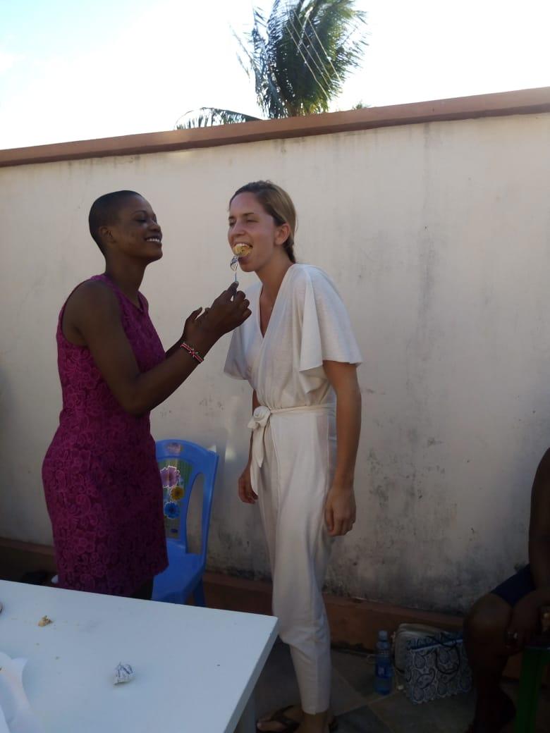 Pauline feeding me cake, she knows my weakness.