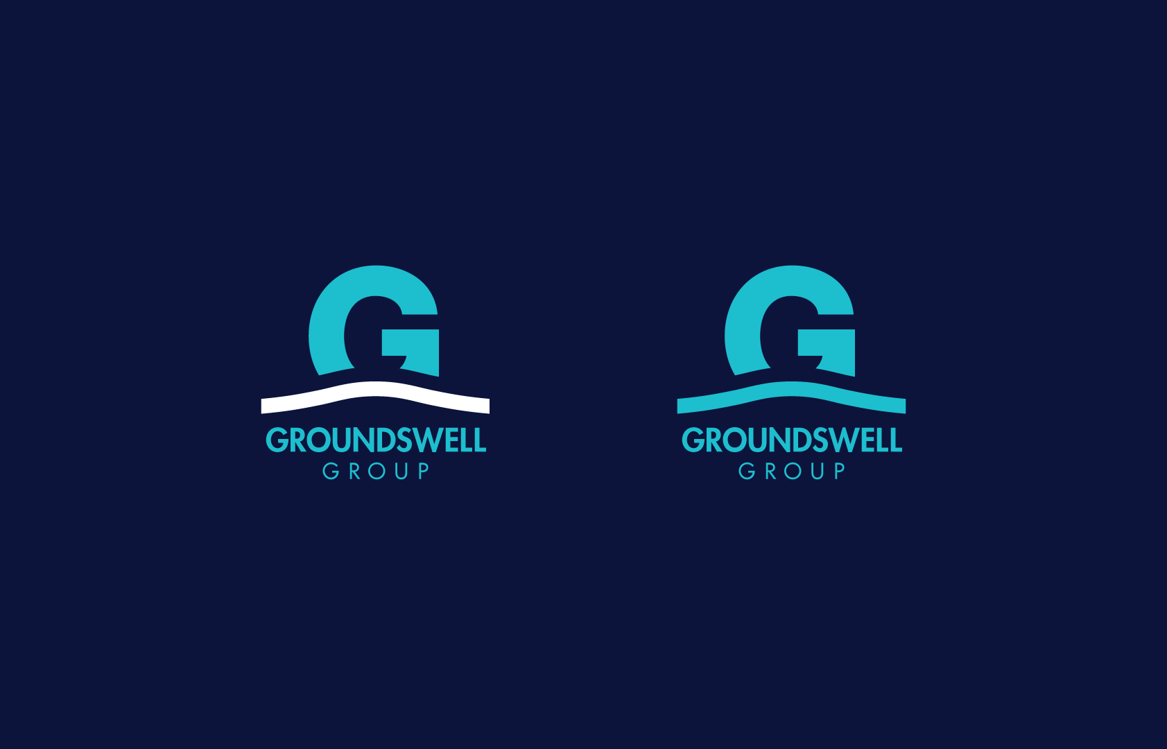 The Groundswell Group logo identity - reverse + monotone formats