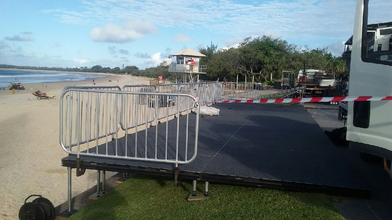 Stage & handrails overlooking beach