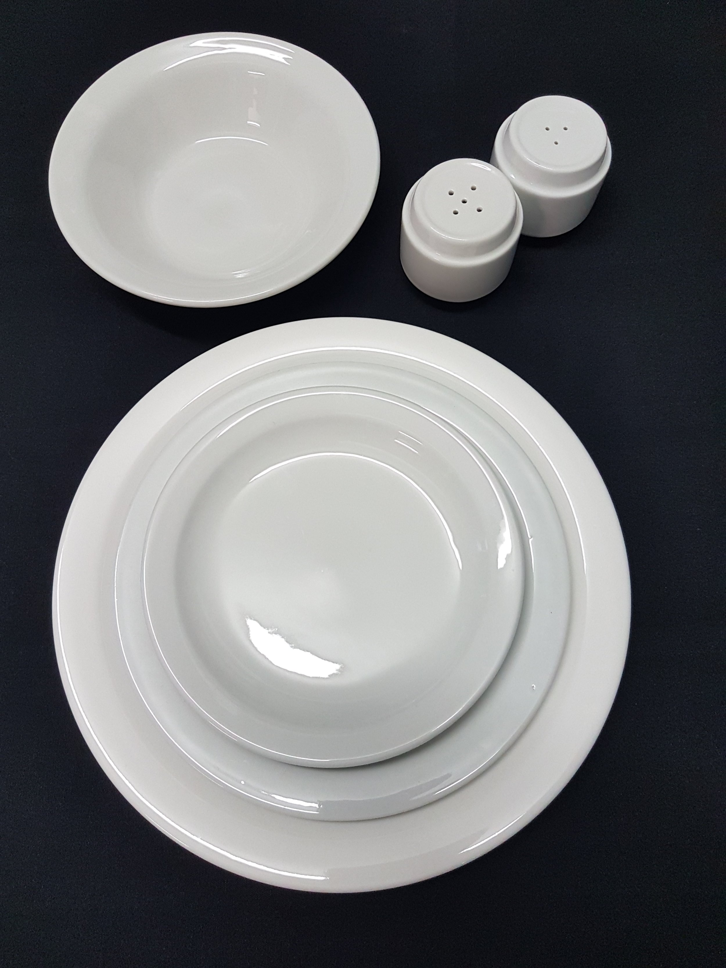 "white china dinner set - All hired separately, no minimumsDinner Plate 10"" .55c eaEntree Plate 8"" .55c eaBread & Butter Plate 6"" .44c eaSoup Bowl 6"" .44c eaSalt & Pepper Shakers Set $1.65ea"