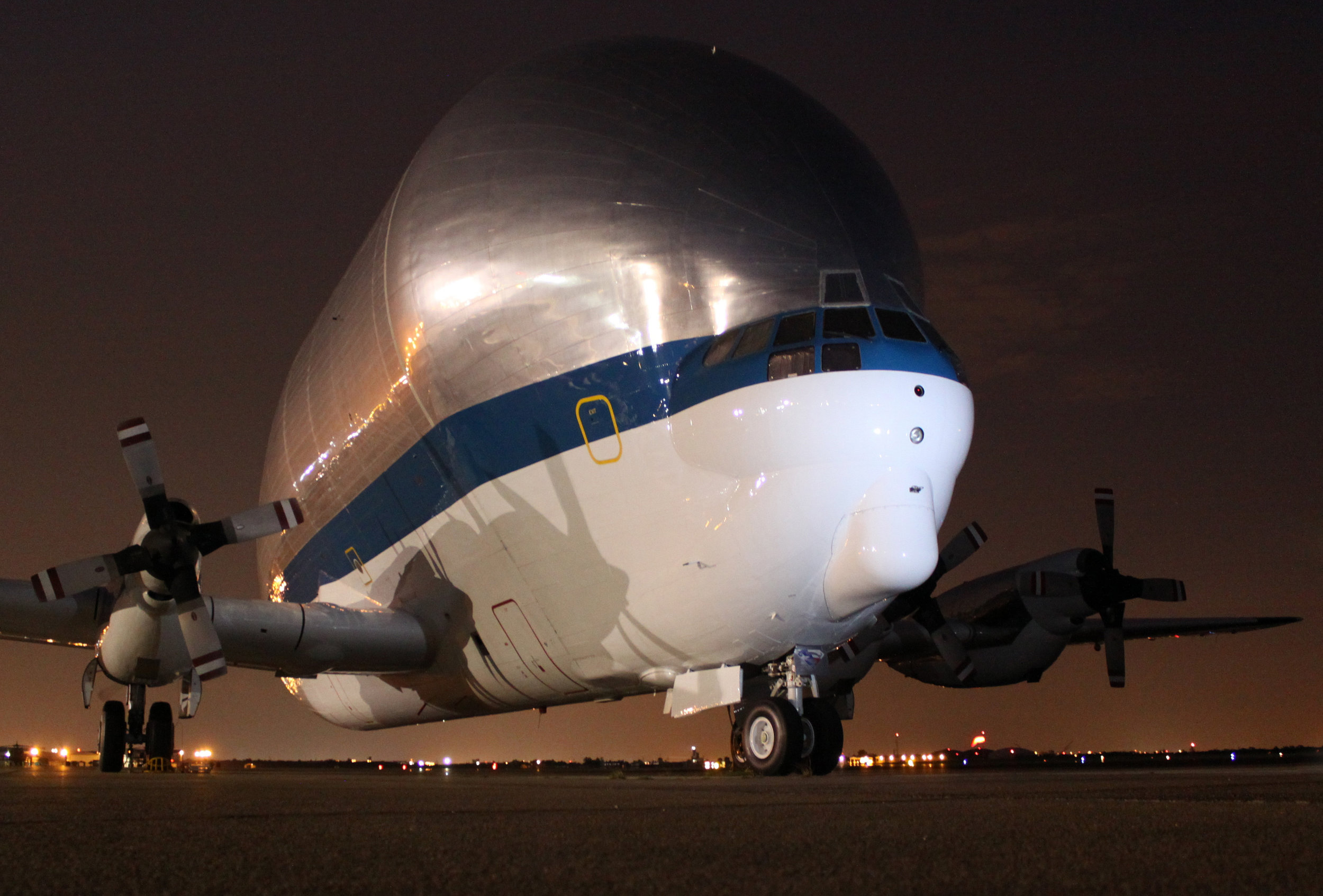 Super Guppy at night