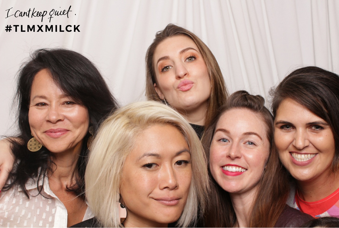 """Tamiko, Lindsey, Katie and Melody of the Clit Crew hanging with Milck at the release party for her new song """"A Little Peace."""""""
