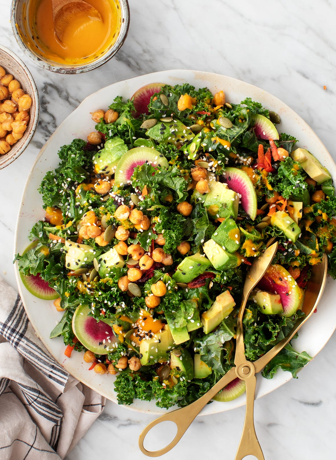 5. Rainbow Kale Salad with Carrot Ginger Dressing -