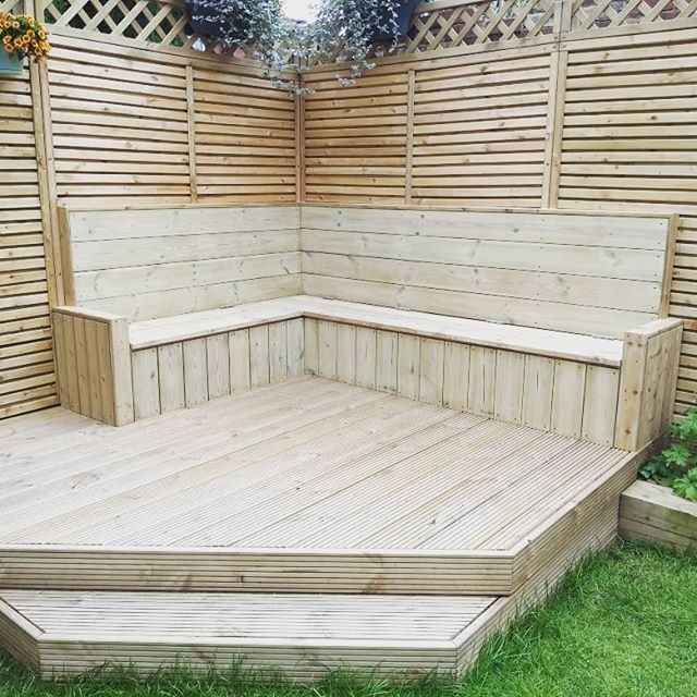 Always nice to return to an old job. This time added an L-shaped bench seat with waterproof internal storage.  #joinersofinstagram #benchseat #decking  #gardenmakeover #carpentry #joinery #outdoorseating