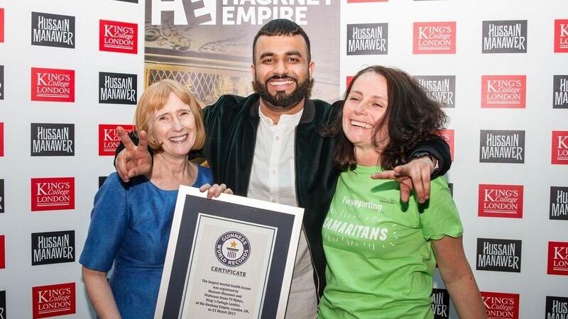 Hussain Manawer with Professor Dame Til Wykes and Jane Bolger (Samaritans)