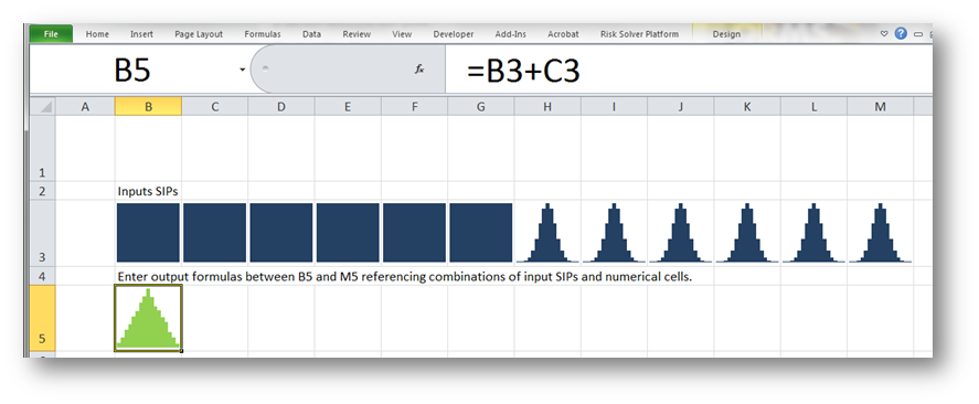 Screenshot of the Excel example    Download  the Sparkland demonstration of SIPmath