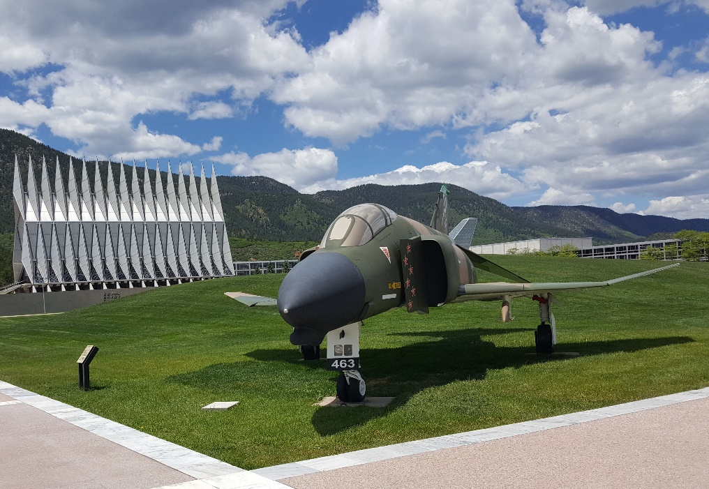 An F4 Phantom with the Air Force Academy Chapel in the background