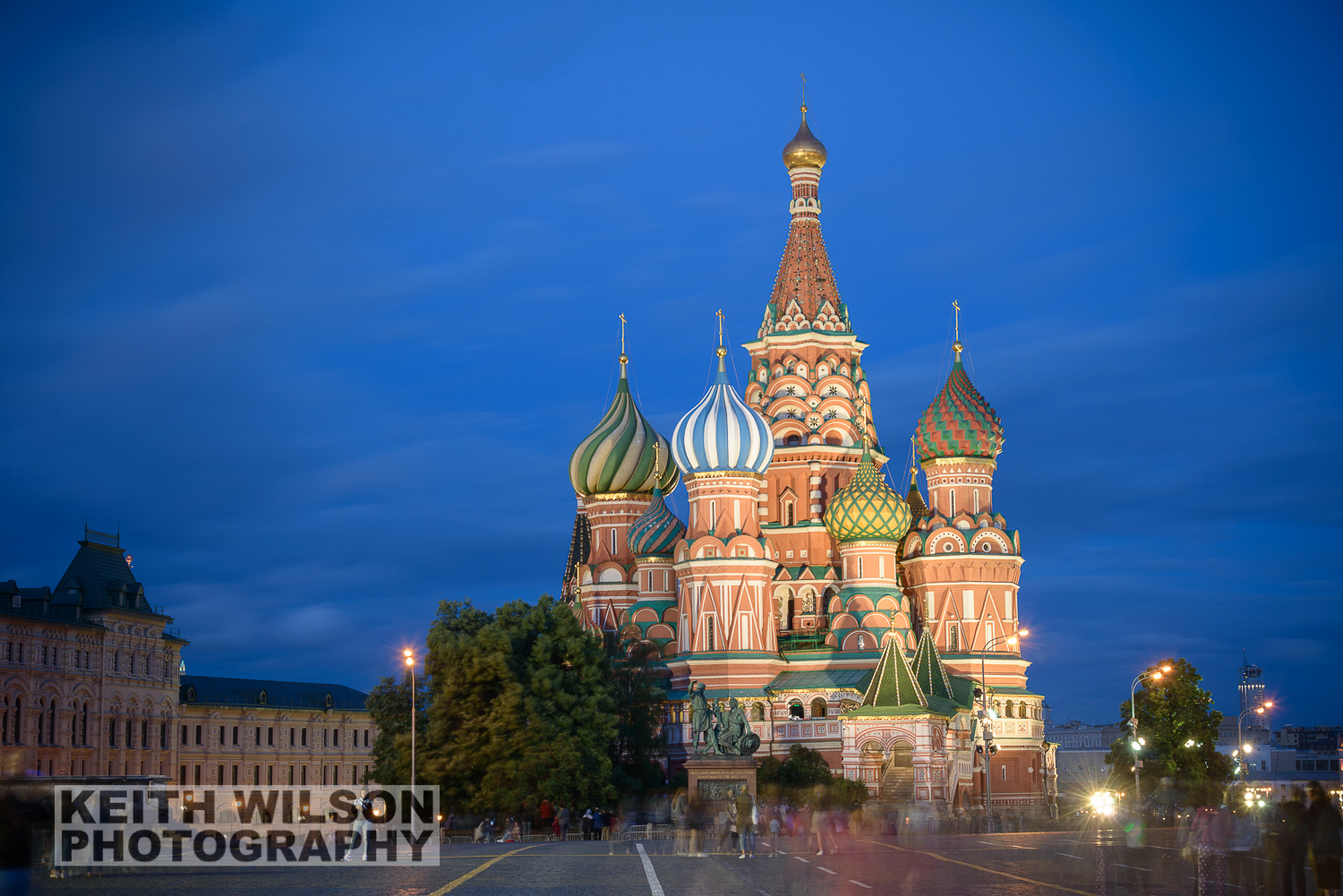 Saint Basil's Cathedral during Blue Hour using a 5 stop ND to capture teh cloud movement and blur the people