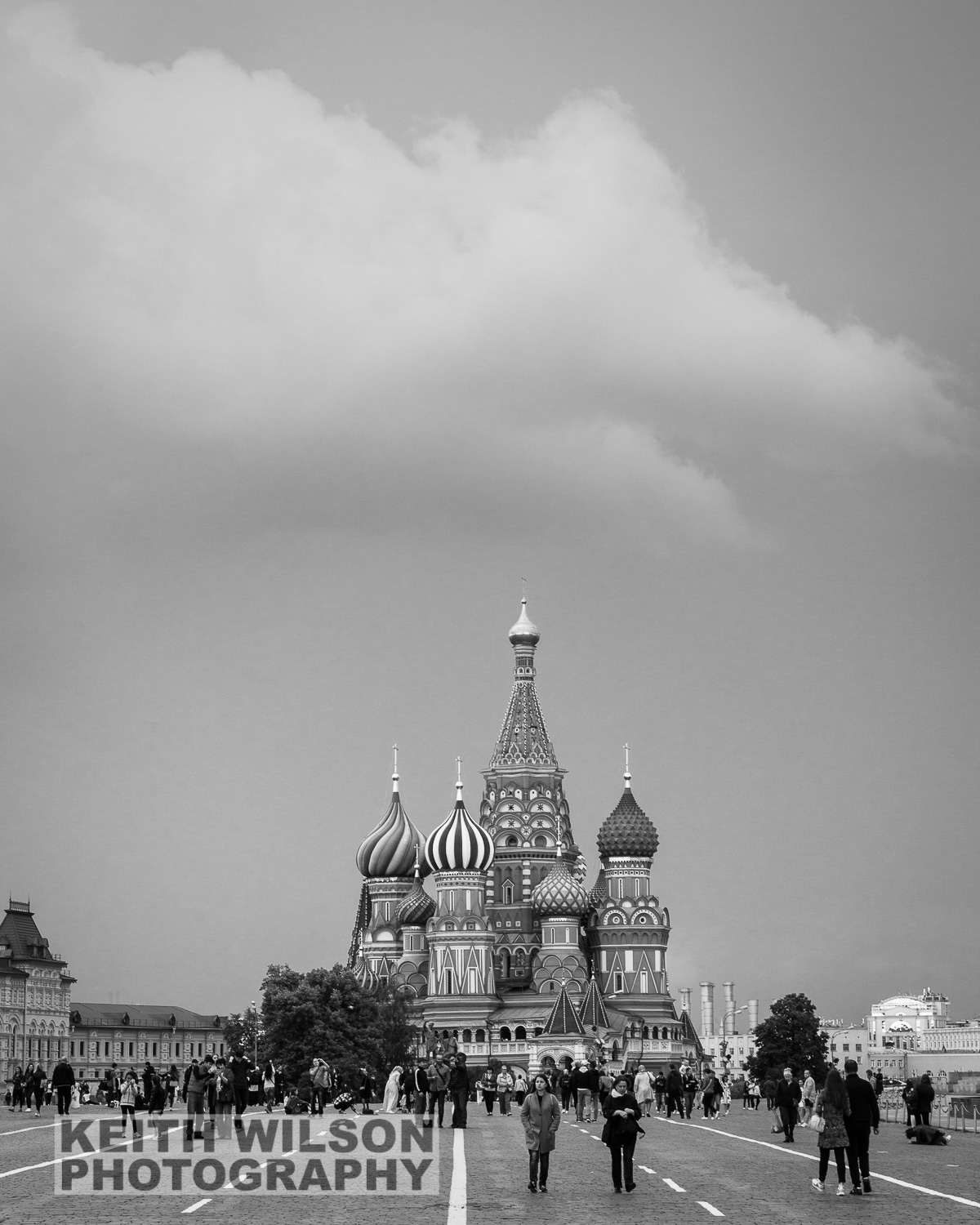 Red Square and Saint Basil's Cathedral just before a heavy rain shower
