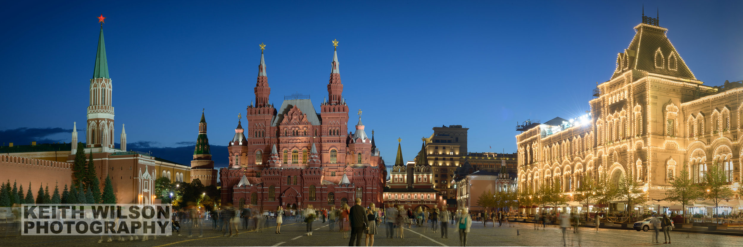 Red Square during Blur Hour showing the Kremlin, National Museum and GUM Department Store