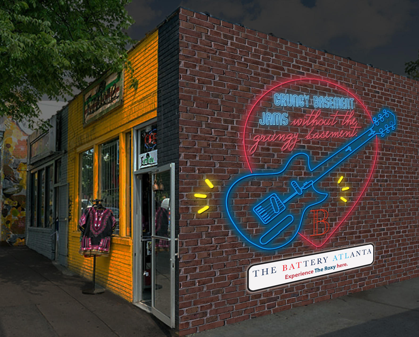 Little Five Points (cool, edgy area known for dive bars and live music)