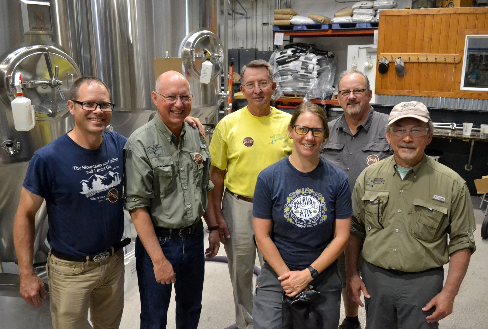 On May 30, partners from the U.S. Forest Service and Trout Unlimited went backstage at Odell Brewing Co. in Fort Collins where they brewed up  conversation about restoring Colorado's native cutthroat trout while making a limited edition beer for the cause. (From Left) U.S. Forest Service Fisheries Biologist Matt Fairchild;  Mickey McGuire, President, Rocky Mountain Flycasters Chapter Trout  Unlimited; Tom Culbertson, Flycasters member; Marni Wahlquist, Head  Pilot Brewer, Odells; Dick Jefferies, Colorado Trout Unlimited Board  Member; Wil Huett, Flycasters Community Outreach chair