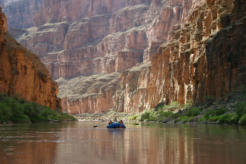 Rafters enjoy floating down the Colorado River in the Grand Canyon.Boating down the Colorado River below Havasu Creek in Grand Canyon National Park. NPS photo by Mark Lellouch.