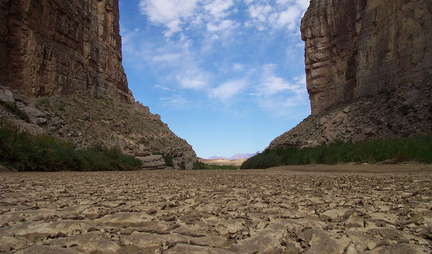 A riverbed dried up along the Rio Grande.